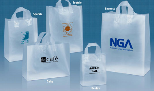 ...plastic bags with side and bottom gussets. fused soft loop handles...