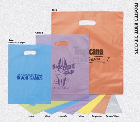 Custom Printed Frosted Brite Die Cut Plastic Shopping Bags ...