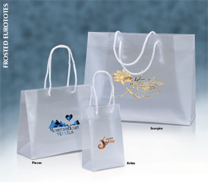 Custom Printed Frosted Eurotote Plastic Shopping Bags