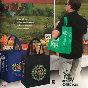 Custom Printed GO GREEN Tote Bags